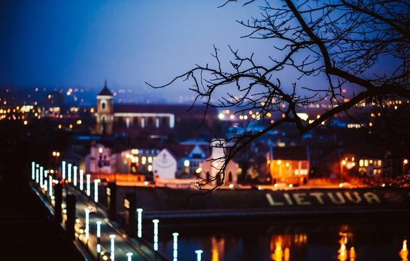 Картинка дорога, деревья, ночь, мост, город, огни, дерево, ветка, размытость, Литва, Lietuva, Каунас, Kaunas