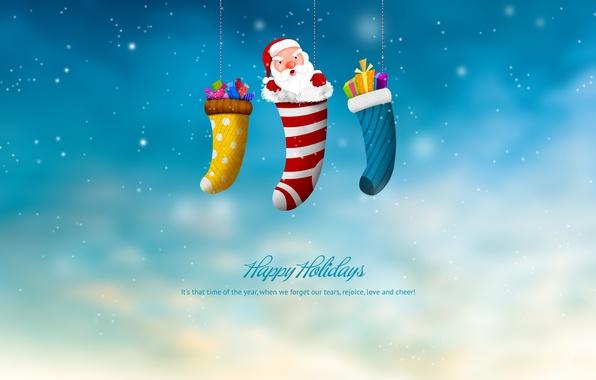 Картинка праздник, новый год, рождество, подарки, new year, санта клаус, merry christmas, happy hollidays, рождественский носок