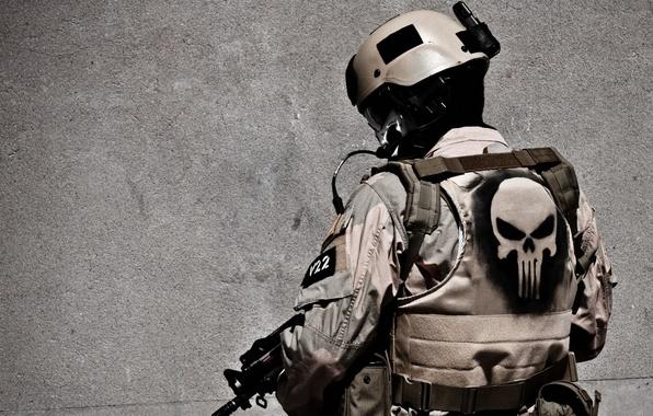 Картинка череп, солдат, амуниция, каратель