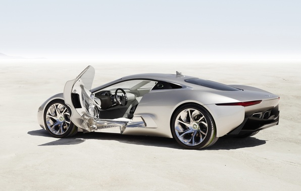 Картинка машина, Concept, Jaguar, дверь, silver, C-X75