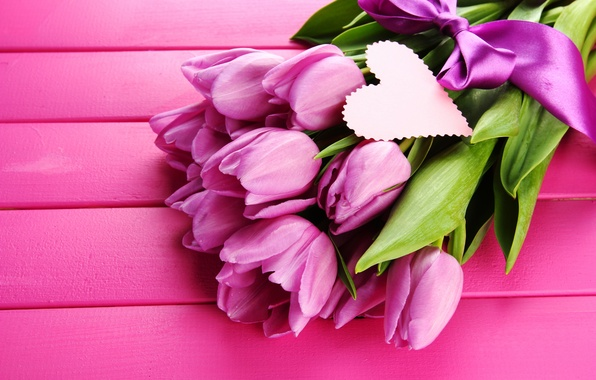 Картинка цветы, сердце, лента, тюльпаны, розовые, бант, сердечко, ленточка, сиреневые, открытка, лиловые