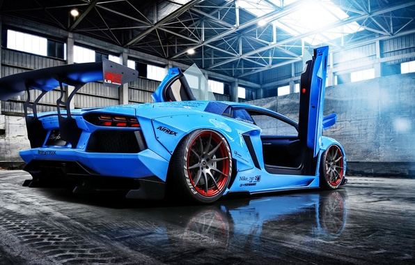Картинка Lamborghini, Blue, Sun, Aventador, Supercar, LP720-4, Rear, Liberty, Doors, Walk, Beam, LB Perfomance