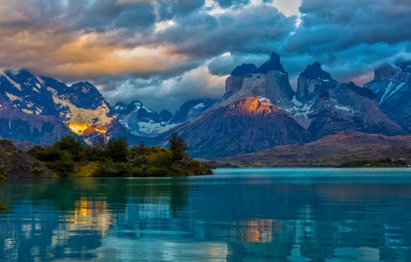 Картинка облака, пейзаж, горы, природа, озеро, Аргентина, Patagonia