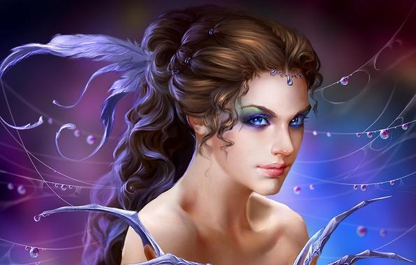 Картинка девушка, капли, украшения, роса, магия, волосы, паутина, перья, фэнтези, арт, girl, fantasy, причёска, magic, волшебница, …