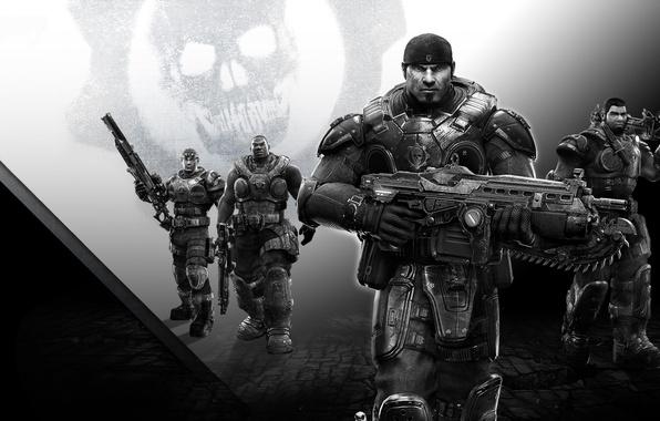 Картинка оружие, череп, команда, Lancer, броня, пила, друзья, шестеренка, винтовка, бандана, Microsoft Game Studios, Epic Games, …