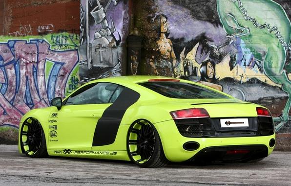 Картинка фон, стена, Audi, тюнинг, Ауди, зелёный, суперкар, графити, диски, вид сзади, tuning, V10, В10, XXX …