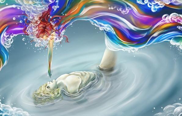 Картинка вода, девушка, краски, рука, арт, парень