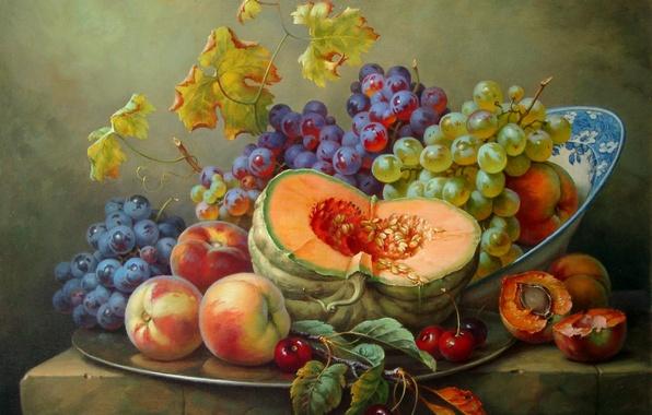 Картинка вишня, виноград, тыква, натюрморт, живопись, персики, Gabor Toth