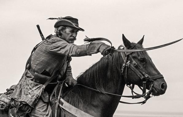 Картинка атака, лошадь, мужчина, всадник, сабля