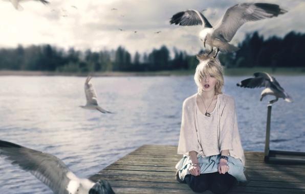 Картинка девушка, птицы, стиль, ситуация