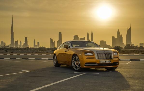 Картинка Rolls-Royce, Car, Dubai, Gold, Luxury, Wraith, Cityscape
