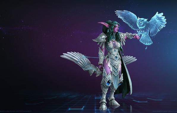 Картинка лук, World of Warcraft, эльфийка, blizzard, heroes of the storm