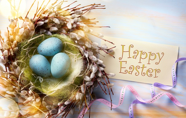 Картинка ветки, ленты, праздник, яйца, перья, Пасха, гнездо, верба, карточка, Easter, крашенки