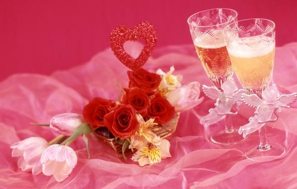 Картинка вино, розы, бокалы, тюльпаны, шампанское, альстрёмерия