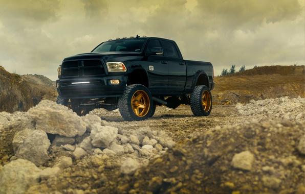 Картинка Dodge, Front, Black, Truck, Ram, Wheels, Vehicle, Outdoor, ADV.1, Bronze