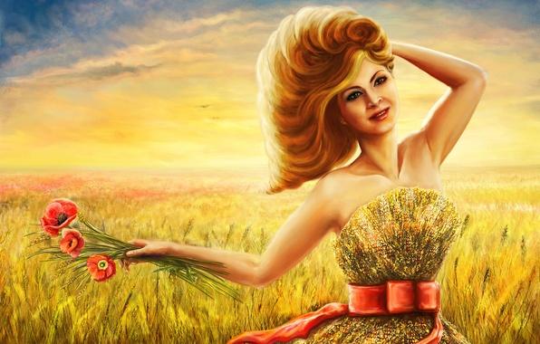 Картинка лето, взгляд, девушка, цветы, лицо, улыбка, платье, арт, желтое
