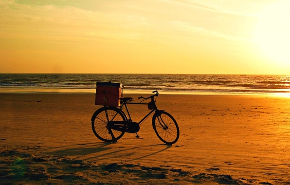 Картинка bicycle, beach, bike, sunset
