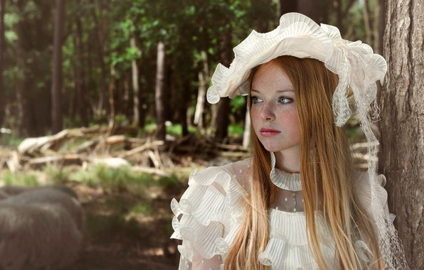 Картинка платье, девочка, веснушки, шляпка