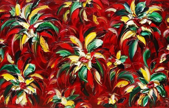 Картинка листья, цветы, картина, лепестки, луг, клумба
