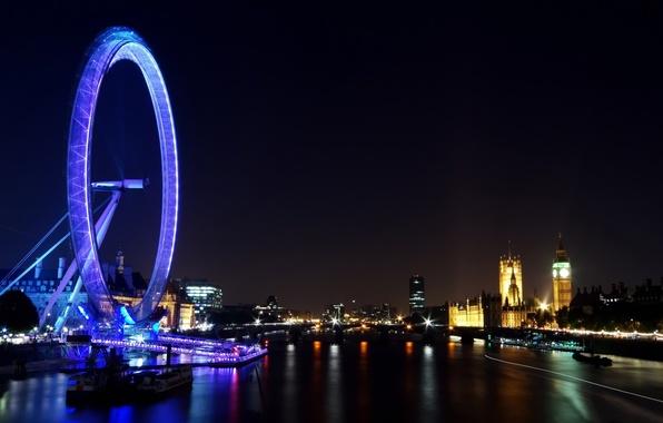 Картинка ночь, город, огни, река, обои, вид, здания, англия, лондон, панорама, колесо обозрения, london, темза, london ...