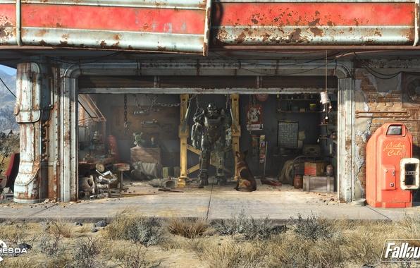 Картинка робот, заправка, собака, гараж, ангар, костюм, стоянка, fallout, пустошь, силовая броня, радиации, fallout 4, братство …
