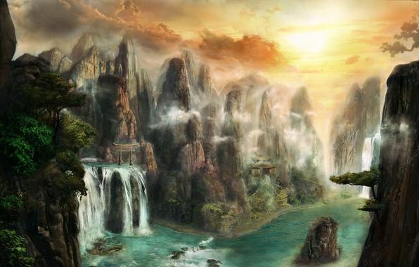 Картинка вода, деревья, пейзаж, горы, река, камни, скалы, водопад, арт, храм, фантастический мир, врата, Max Antonov