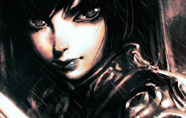Картинка взгляд, лицо, ливень, art, Илья Кувшинов