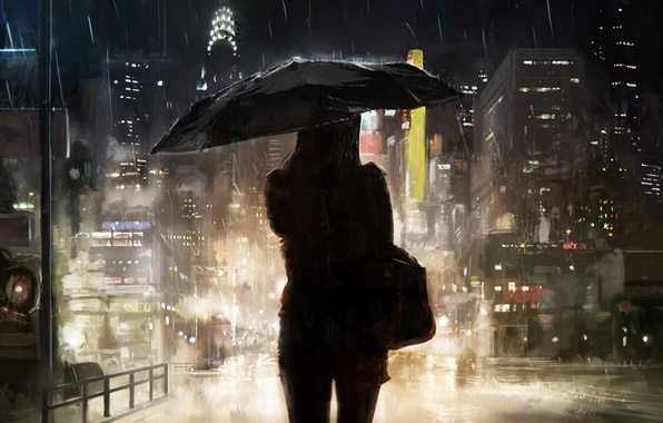 Картинка девушка, город, зонтик, дождь, силуэт, арт