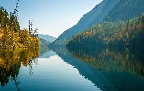 Картинка осень, лес, горы, озеро, отражение, Канада, Canada, British Columbia, Британская Колумбия, озеро Эко, Monashee Mountains, …