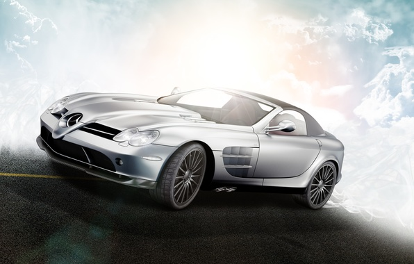 Картинка облака, McLaren, Roadster, Mercedes-Benz, SLR, R199, silvery, by D4D4L, 722 S