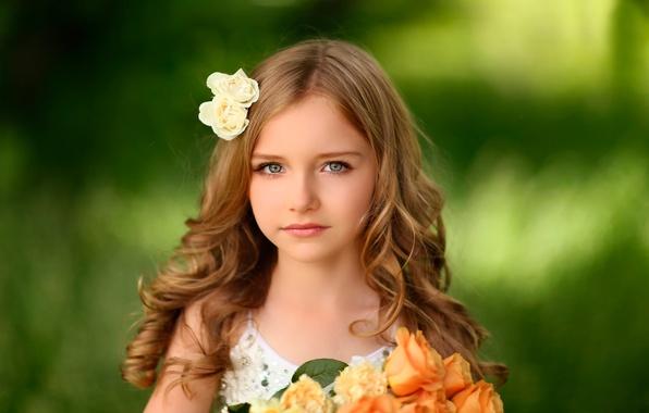 Картинка цветы, портрет, девочка, Alex