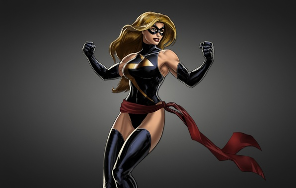 Картинка девушка, маска, черный фон, комикс, Мисс Марвел, Ms. Marvel
