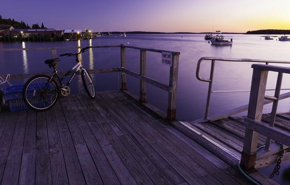 Картинка закат, велосипед, пристань, бухта, пирс