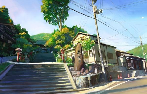 Картинка камень, Япония, день, лестница, Киото, art, Shitub52