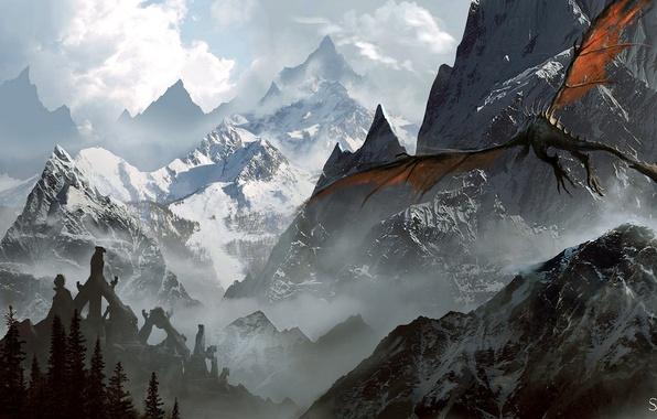 Картинка горы, dragon, The Elder Scrolls V: Skyrim