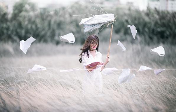 Фото обои поле, девушка, ветер