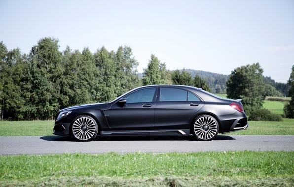 Картинка черный, Mercedes-Benz, матовый, сбоку, мерседес, Black, Mansory, S-Class, W222, 2015