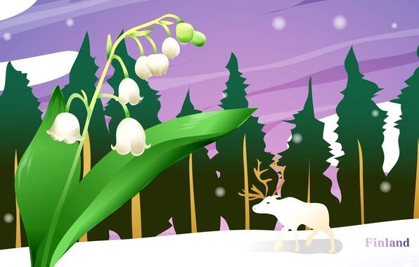 Картинка пейзаж, путешествия, олень, туризм, ландыши, страна, Финляндия, Finland, государство