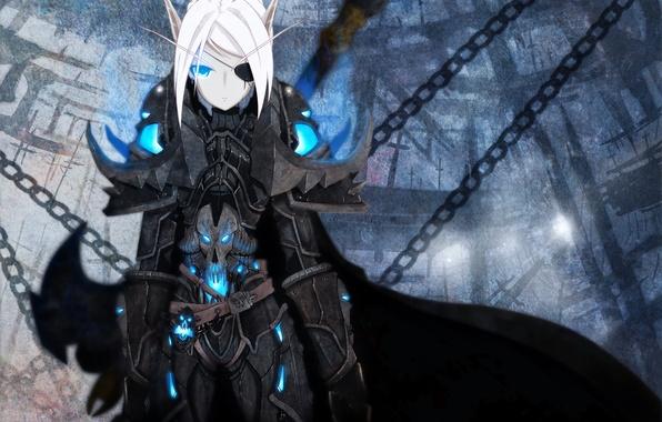 Картинка девушка, эльф, цепь, броня, голубые глаза, плащ, белые волосы, короткие волосы, world of warcraft, повязка …