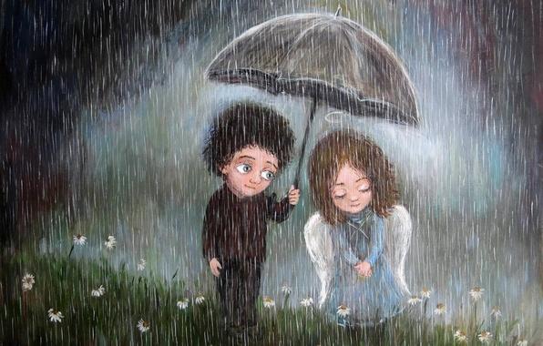 Картинка зонтик, дождь, настроение, мальчик, арт, пара, девочка, чувство, Нино Чакветадзе