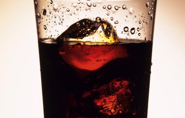Картинка капли, лёд, Стакан, напиток, coca-cola, содовая