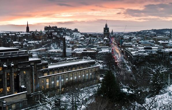 Картинка дорога, улица, дома, вечер, Шотландия, отель, столица, Scotland, Эдинбург, Edinburgh