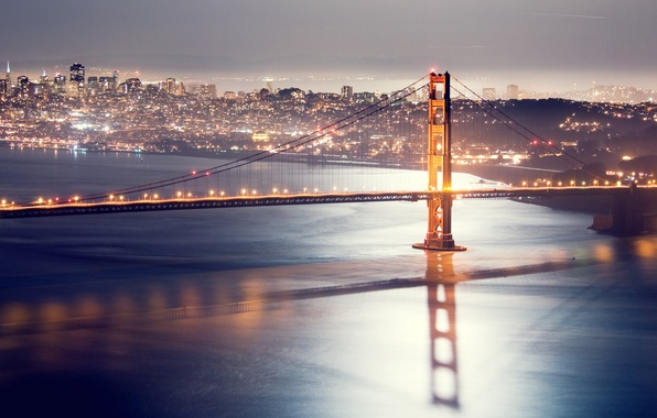 Картинка ночь, мост, огни, сан-франциско, golden gate bridge