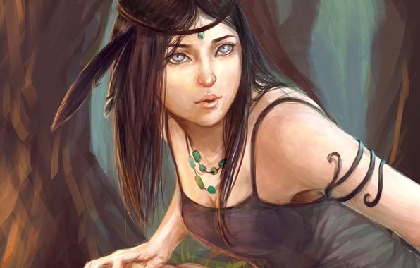 Картинка взгляд, девушка, перо, арт, бусы