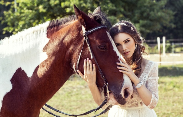 Картинка лето, девушка, солнце, природа, настроение, лошадь, платье, брюнетка, прогулка, красивая, в белом