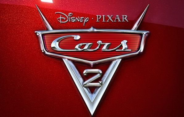 Картинка мультфильм, pixar, эмблема, хром, disney, тачки 2, cars 2, красный перламутр