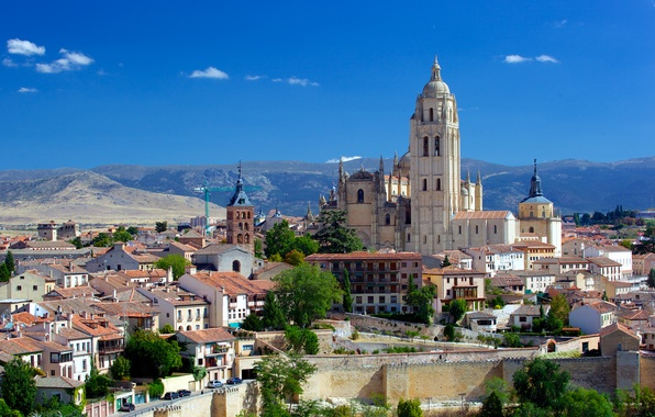Картинка фото, Дома, Город, Собор, Храм, Испания, Монастырь, Segovia Cathedral