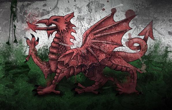 Картинка краски, Дракон, флаг, Уэльс, Wales, Cymru