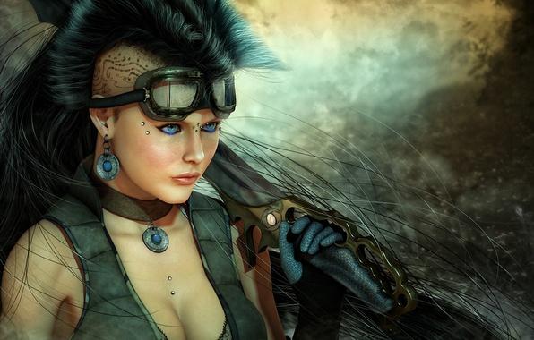 Картинка девушка, оружие, меч, пирсинг, тату, арт, очки, нож, татуировка, киберпанк, ирокез, клинок