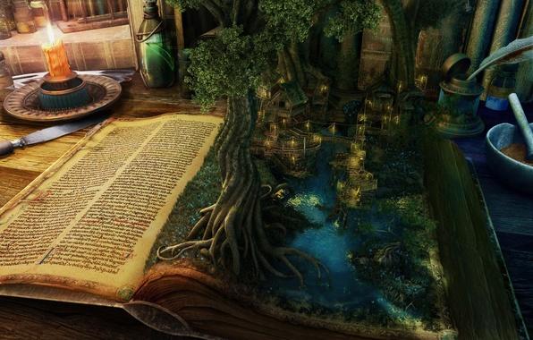 Книга дерево магия пейзаж дома вода